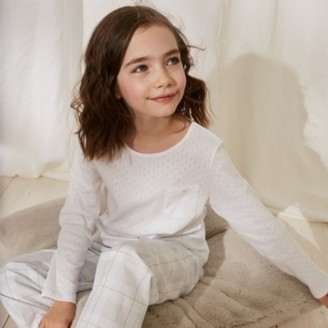 The White Company Pointelle Check Pyjamas (1-12yrs), White Blue, 7-8yrs