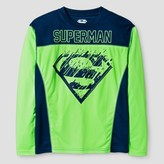 Superman Boys' Long Sleeved Active Wear T-Shirt - Neon Green/ Navy