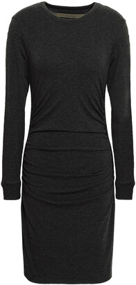 Enza Costa Ruched Stretch Cotton And Cashmere-blend Mini Dress