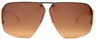 Bottega Veneta Triangle-temple Aviator Metal Sunglasses - Gold