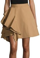 MSGM Poplin Side Ruffle Skirt