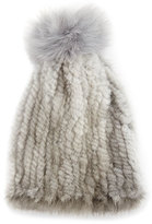 La Fiorentina Mink & Fox Fur Pompom Beanie Hat, Gray