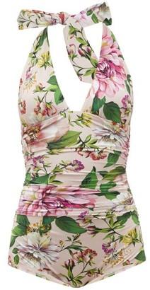 Dolce & Gabbana Halterneck Ruched Peony-print Swimsuit - Pink Print