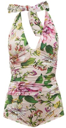 Dolce & Gabbana Halterneck Ruched Peony-print Swimsuit - Womens - Pink Print