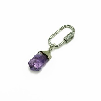 Stranger Than Them Healing Crystal - Soothe - Amethyst Silver Pave Crystal Key Chain / Bag Clip
