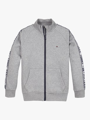 Tommy Hilfiger Boys' Organic Cotton Blend Logo Tape Zip Through Sweatshirt, Mid Grey