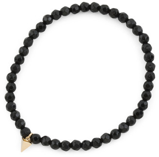 Made In Usa 14k Gold Pyramid Charm Black Onyx Bracelet