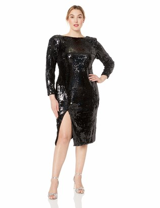 Dress the Population Women's Size Natalie Long Sleeve Stretch Sequin Midi Sheath Dress Plus