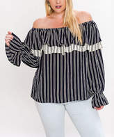 Flying Tomato Navy Pinstripe Off-Shoulder Top - Plus