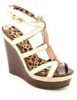 Jessica Simpson Ginny Women Open Toe Leather Wedge Sandal.