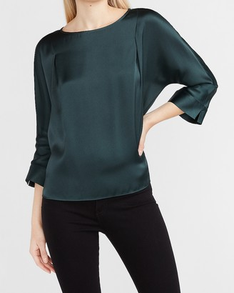 Express Satin Pleated Dolman Sleeve Top
