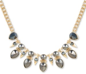 """GUESS Gold-Tone Smoky Stone Frontal Necklace, 18"""" + 2"""" extender"""