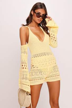 I SAW IT FIRST Yellow Crochet Playsuit
