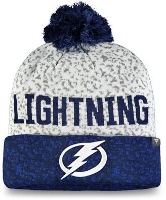 Men's Fanatics Branded Blue/White Tampa Bay Lightning Fan Weave Cuffed Knit Hat with Pom