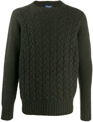 Drumohr Crew-Neck Cable Knit Sweater