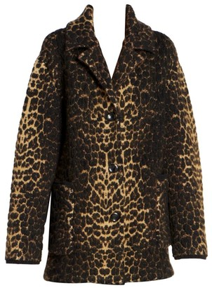 Saint Laurent Leopard Wool Blend Jacket