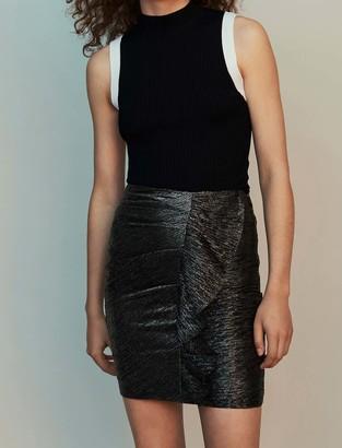 Maje Lurex draped skirt with ruffles