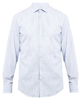 Massimo Alba Long-sleeved Pinstriped Cotton-poplin Shirt