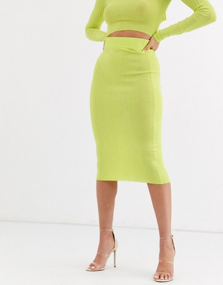 Asos Design DESIGN co ord pencil skirt in stuctured rib-Yellow