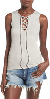 Missguided Lace-Up Rib Knit Tank