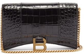 Balenciaga Hourglass Mini Croc-effect Leather Cross-body Bag - Black