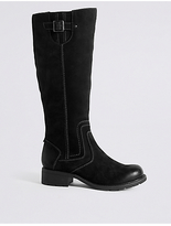 M&S Collection Leather Block Heel Side Zip Knee Boots