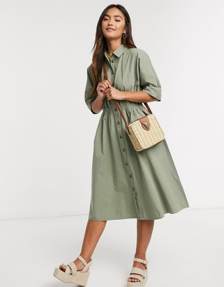Qed London shirt midi dress in khaki