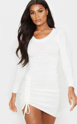 PrettyLittleThing Cream Long Sleeve Ruched Asymmetric Knitted Dress