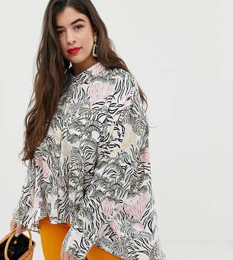 Neon Rose Plus swing blouse in jungle print satin two-piece-Cream