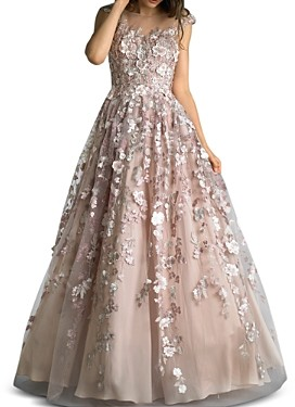 Basix II Floral Embellished Ball Gown