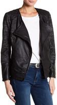 Lucky Brand Mixed Media Genuine Leather Moto Jacket