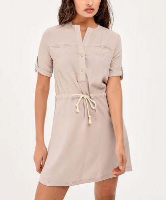 BEIGE New Laviva Women's Casual Dresses  Tie-Waist Shirt Dress - Women