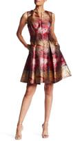 Chetta B V-Neck Back Zip Metallic Pleated Dress