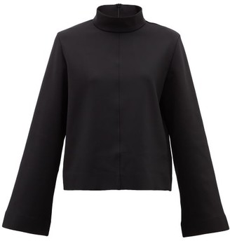 The Row Munie Funnel-neck Scuba-jersey Top - Black