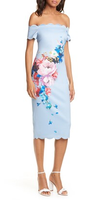 Ted Baker Raspberry Ripple Floral Scallop Off the Shoulder Dress