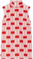Miu Miu Bow-embellished Printed Cotton-poplin Top - Red