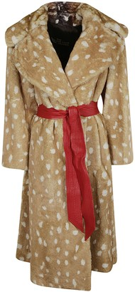 Marc Jacobs Fur Applique Belted Coat