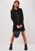 Missguided Black Button Through Ruffle Shirt Dress