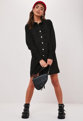 Missguided Black Button Through Ruffle Shirt Dress