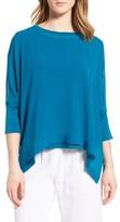 Eileen Fisher Women's Knit Trim Boxy Silk Poncho Top