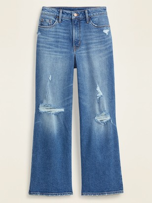 Old Navy Extra High-Waisted Distressed Wide-Leg Crop Jeans for Women