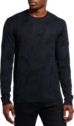 7 For All Mankind Men's Tonal Palm Wool-Linen Sweater