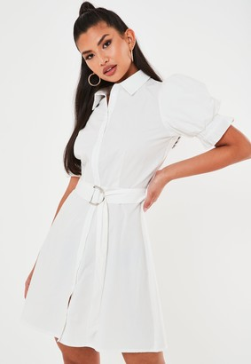 Missguided Tall White Puff Sleeve Shirt Dress