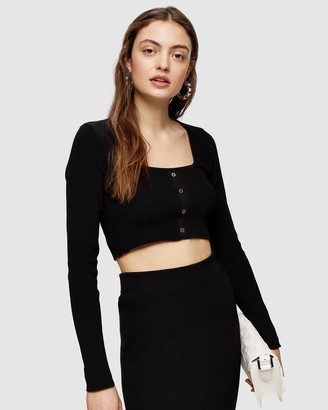 Topshop Square Neck Button Knitted Top