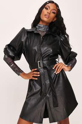 I SAW IT FIRST Black Belted Puff Sleeve Shirt Dress