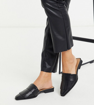 ASOS DESIGN Wide Fit Very fringed mules in black