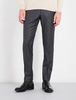 SLOWEAR Sharkskin-patterned regular-fit tapered wool trousers