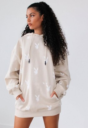 Missguided Playboy X Stone Repeat Bunny Hoodie Dress