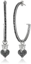 King Baby Studio Queen Baby Crowned Hearts Large with Black Pave Cubic Zirconia Hoop Earrings