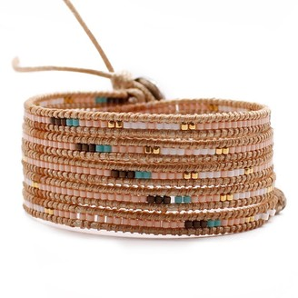 Victoria Emerson Peach, Turquoise and White Seed Beads on Natural - Vegan